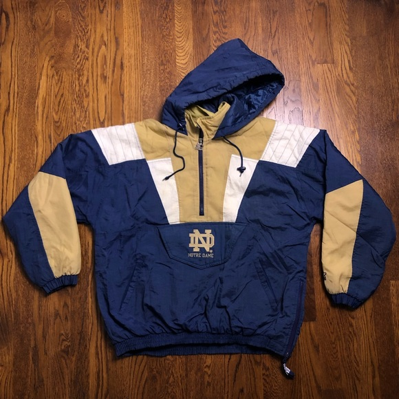 Vtg 90s Notre Dame Fighting Irish Mens Starter Jacket Pullover Puffer Size XL